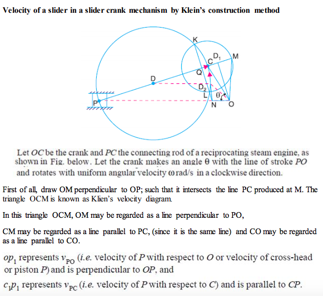 question and answers mechanical engg diploma notes and videosexplain with neat sketch how to find the velocity of a slider in slider crank mechanism by klein\u0027s construction