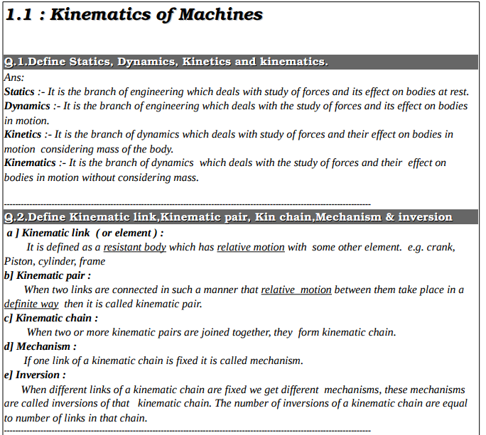 Theory of machines notes-diploma engineering